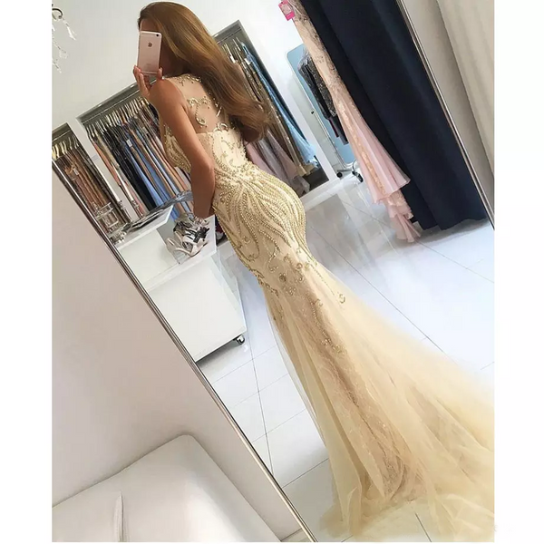 Tulle Sleeveless Backless Prom Dress, Beaded Sexy Prom Dress, Floor-Length Party Dresses, LB0789