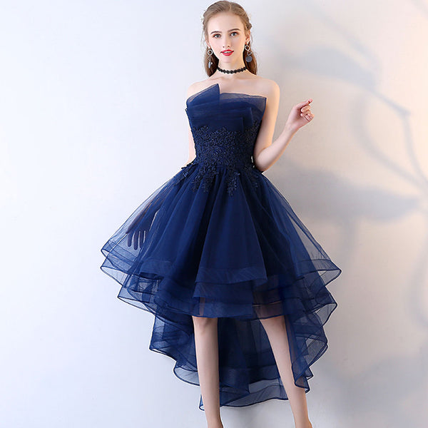 Short Homecoming Dress, Organza Homecoming Dress, Applique Homecoming Dress, Backless Junior School Dress, High-Low Homecoming Dress, LB0795