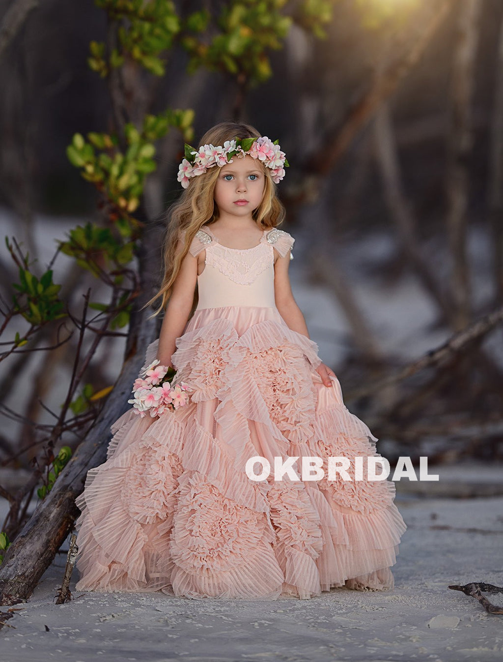 Beaded Tulle Flower Girl Dresses, Popular Little Girl Dresses, KX798