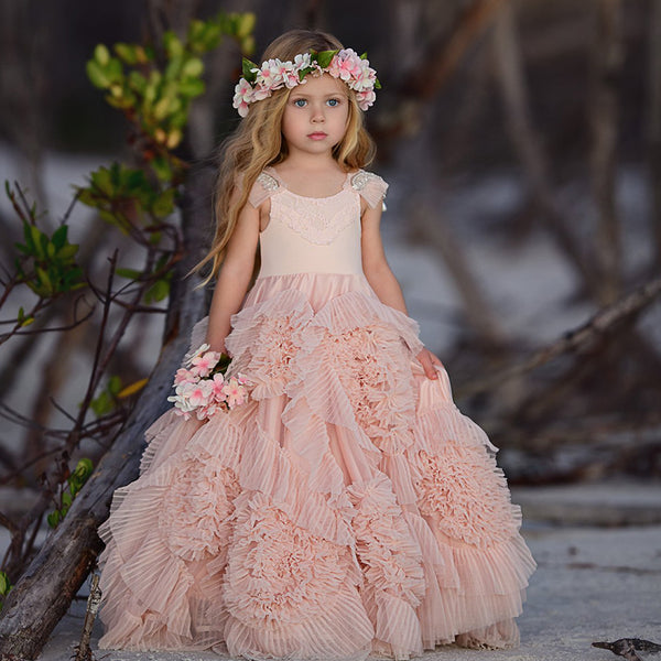 8a94c5dea6 Cute Beaded A-Line Tulle Flower Girl Dresses
