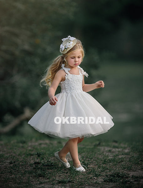 Cute Lace Top Tulle Sleeveless Flower Girl Dresses,  Cheap Little Girl Dresses, KX801