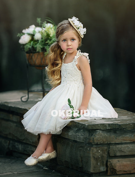 d294db03f Cute Lace Top Tulle Sleeveless Flower Girl Dresses