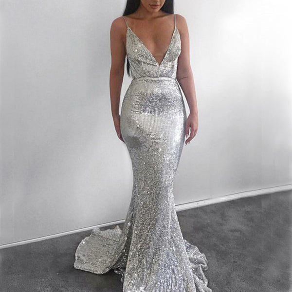 bf553385d6 Sexy Mermaid Deep V-neck Silver Sequin Prom Dresses