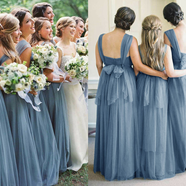 2019 wholesale price new high quality elegant shoes Cheap Tulle Convertible Bridesmaid Dress, Long Backless Bridesmaid Dress,  KX813