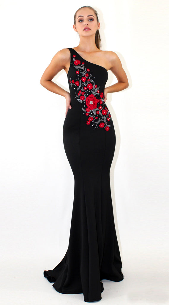 Mermaid One-Shoulder Prom Dresses, Applique Prom Dresses, Sleeveless Prom Dress, LB0815