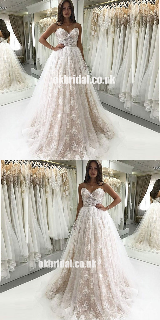 New Arrival Sweet Heart A-Line Wedding Dress, Lace Charming Backless Tulle Luxury Wedding Dress, LB0830