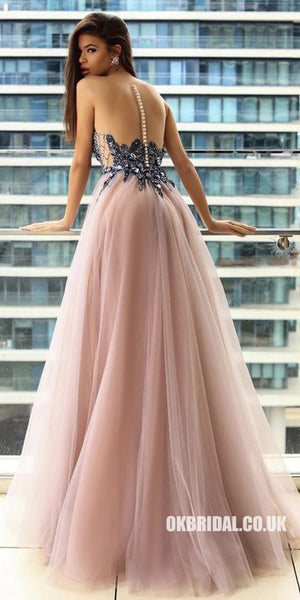 Sparkle Beaded Sleeveless Prom Dresses, Cheap Tulle A-Line Prom Dresses, KX838