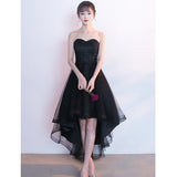 High-Low Tulle Unique Homecoming Dress, Applique Sweet Heart Black Homecoming Dress, LB0854