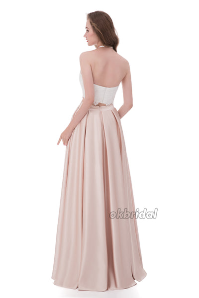 Long Lace Prom Dress, Satin Prom Dress,  Two Pieces Prom Dress, Sleeveless Prom Dress, LB0863