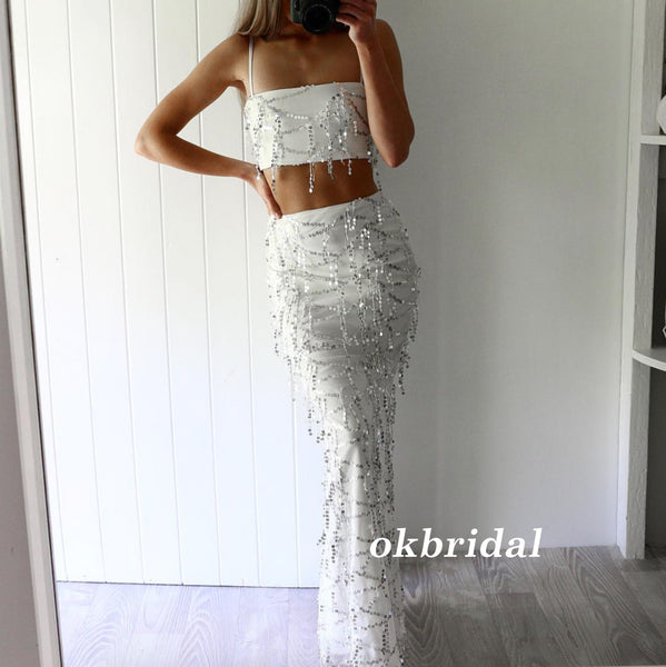 Two Pieces Spaghetti Straps Prom Dress, Tulle Mermaid Sequin Prom Dress, Sexy Prom Dress, LB0866