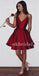 Spaghetti Straps Homecoming Dress, Taffeta Homecoming Dress, V-Neck Homecoming Dress, Simple Junior School Dress, LB0877