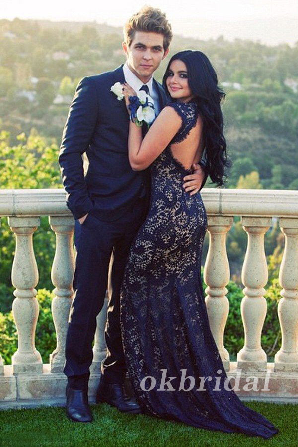 Sleeveless Prom Dress, Lace Prom Dress, Sexy Prom Dress, Open-Back Prom Dress, Deep V-Neck Prom Dress, Mermaid Party Dresses, LB0882