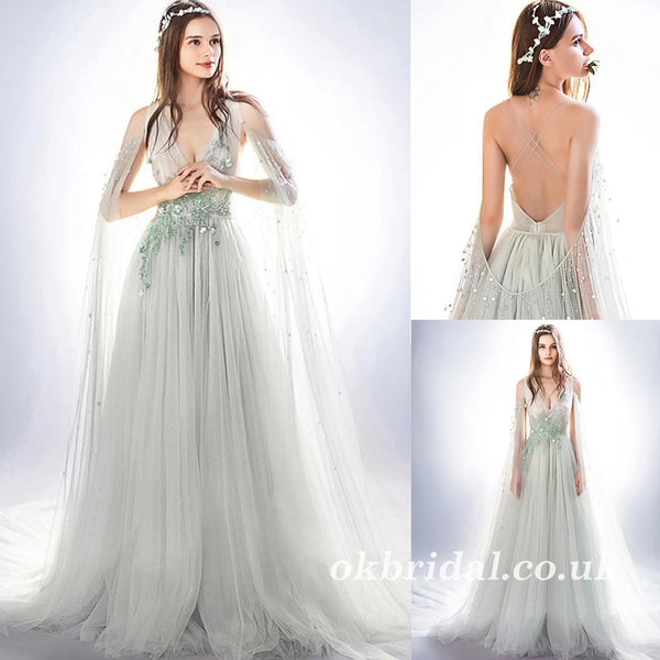 b160763bc9 Applique Tulle Prom Dress, Beautiful Prom Dress, Backless V-Neck A-Line