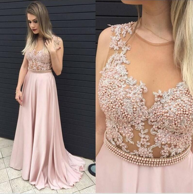 Lace Blush Pink Evening Prom Dresses, 2017 Long Sexy See Through Party Prom Dress, Custom Long Prom Dress, Cheap Party Prom Dress, Formal Prom Dress, 17033