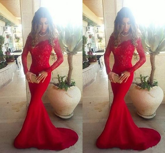 Long Sleeve Lace Mermaid Prom Dresses, Long sleeve Evening Party Dresses, Red Prom Dress, 2017 Prom Dress, Formal Prom Dress, 17008