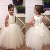 Tulle Beading Sleeveless Bowknot Flower Girl Dresses, Lovely Tutu Dresses, FGS008