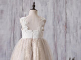 Lace Top Sequin Tulle Flower Girl Dresses, Affordable Lovely Zip Up Little Girl Dresses , FG055