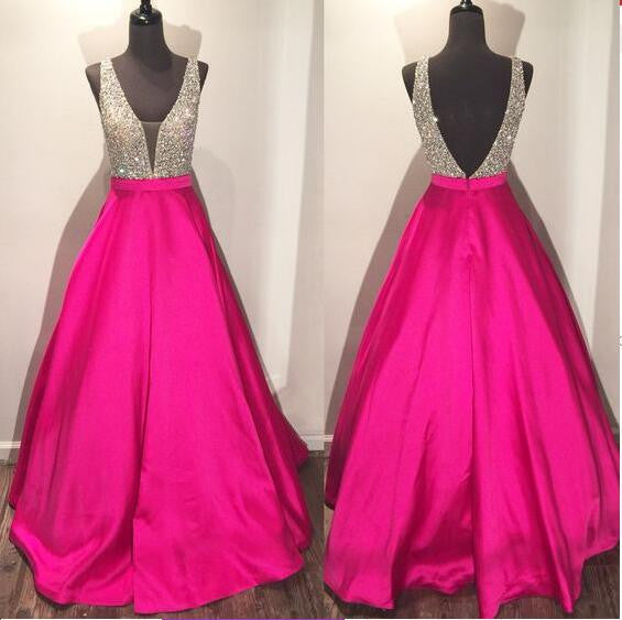 Backless A line Evening Prom Dresses, 2017 Long Party Prom Dress, Custom Long Prom Dress, Cheap Party Prom Dress, Formal Prom Dress, 17034