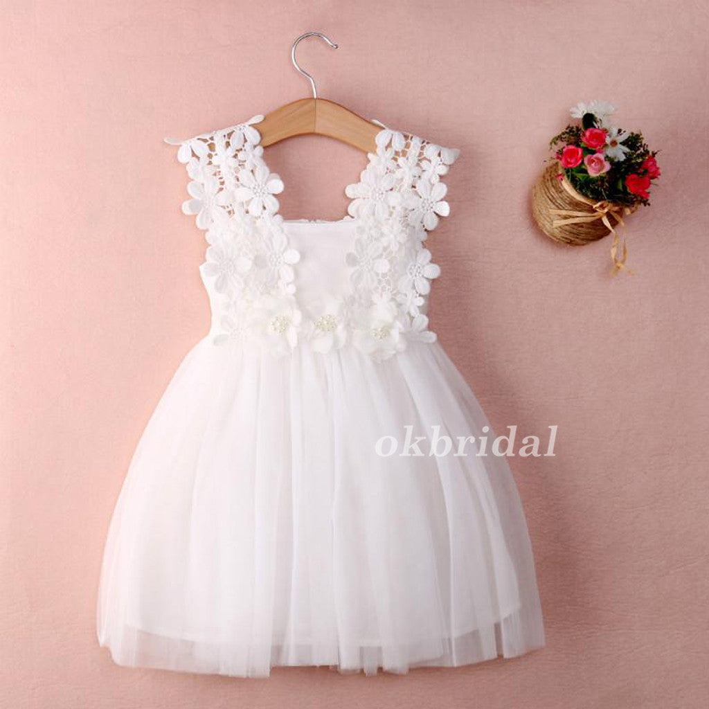 Lace Top Tulle Popular Sleeveless Flower Girl Dresses, Cheap Little Girl Dresses,  LB0905