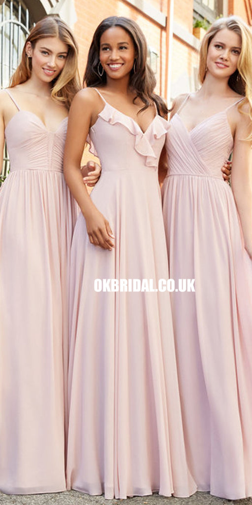 Mismatched Bridesmaid Dress, Chiffon Bridesmaid Dress, Pink Bridesmaid Dress, LB0907