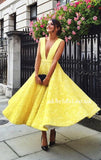 Deep V-Neck Homecoming Dress, Lace Yellow Homecoming Sleeveless Junior School Dress, V-Back Homecoming Dress, LB0915