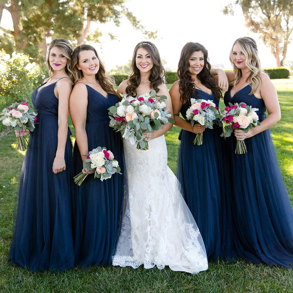Long Tulle A-Line Bridesmaid Dresses, V-Neck Backless Bridesmaid Dresses, KX919
