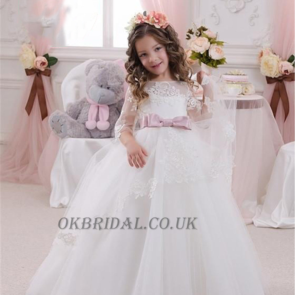 Long Sleeve Tulle Lace Popular Flower Girl Dresses, Cheap Little Girl Dresses, KX91