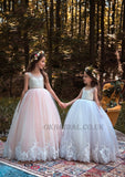 Round Neckline Lace Top Tulle Popular Applique Flower Girl Dresses, Cheap Little Girl Dresses,  KX92