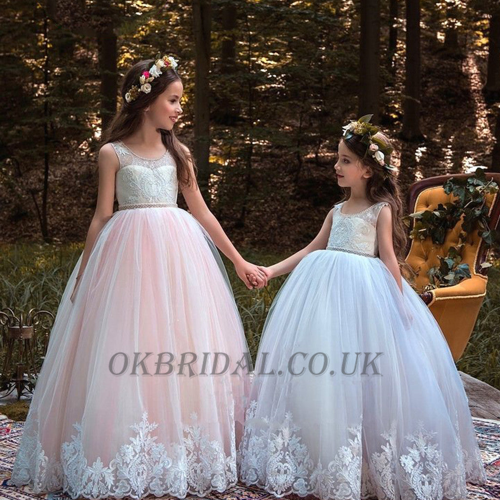 Round neckline lace top tulle popular applique flower girl dresses round neckline lace top tulle popular applique flower girl dresses cheap little girl dresses izmirmasajfo