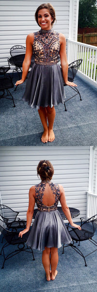 Grey Beaded Top Backless Homecoming Dresses, Open-Back Elastic Satin Homecoming Dresses, KX934-1