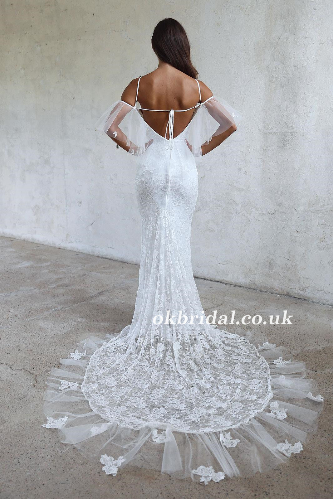 Spaghetti Straps Lace Wedding Dress, Off Shoulder Tulle Backless ...