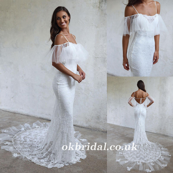 a454da7f3b1c Spaghetti Straps Lace Wedding Dress, Off Shoulder Tulle Backless Wedding  Dress, LB0940