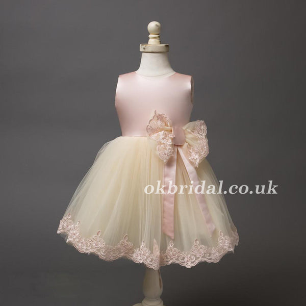 Satin Tulle Lace Flower Girl Dresses With Bowknot, Lovely Cute Tutu Dresses, LB0945