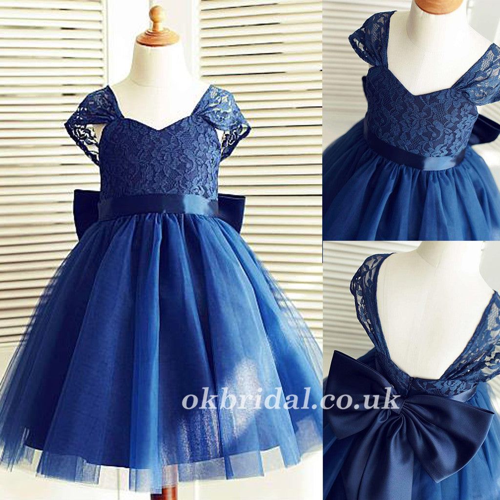 Navy Blue Lace Top Tulle Popular Flower Girl Dresses Cheap Little