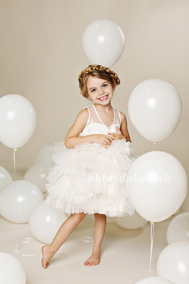 Tulle Applique Flower Girl Dresses, Lovely Cute Tutu Dresses,  LB0963
