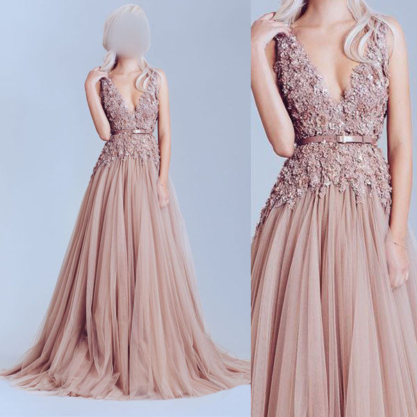 Deep V Neckline Lace prom Dresses, Dusty pink prom Dress, A line Evening Prom Dress, Sexy Party Prom Dress, 17009