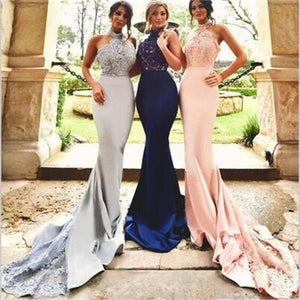 Sexy Long Halter Lace Mermaid Bridesmaid Dresses, Cheap Custom Bridesmaid Dresses, Long Prom Dresses, PD0012