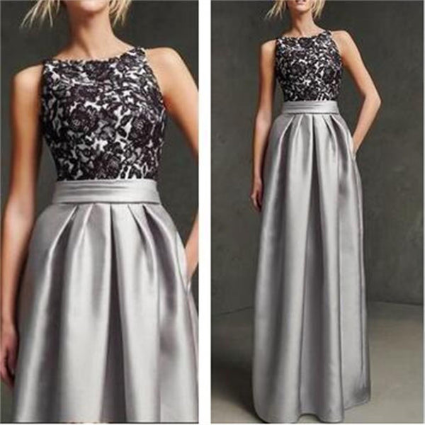 Gray Prom Dresses, Sleeveless Prom Dresses, Simple Prom Dresses,Black Lace Prom Dresses,PD0121