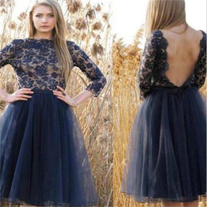 Tulle Navy Blue Prom Dresses, Backless Cocktail Dresses,Long Sleeves Homecoming Dresses,PD0003