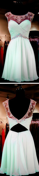 Mint Green Beaded Homecoming Dresses, Open back Prom Dresses, Sexy Backless Homecoming Dresses, Sweet 16 Dresses, Cocktail Dresses,PD0005