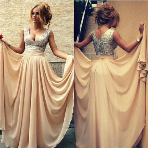 2017 Long Silver Sequin Scoop Neckline Chiffon Prom Bridesmaid Dresses, PD0080
