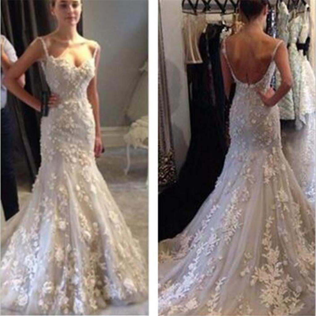 White lace Mermaid Wedding Dresses, Sexy Backless Prom Dresses, Gorgeous Prom Gown, WD0129