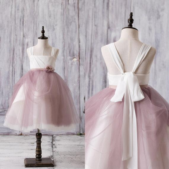 4eef63d454 Newest Arrival Strap White Top Dusty Rose Tulle Cute Flower Girl Dresses