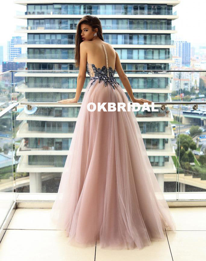 Sparkle Beaded Sleeveless Prom Dresses, Cheap Tulle A-Line Prom ...
