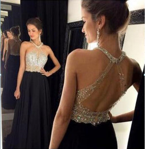 Halter backless Evening Prom Dresses, Sexy Long Prom Dress, Black Evening Prom Dress, 2017 Prom Dress, Custom Evening Party Prom Dresses, 17006
