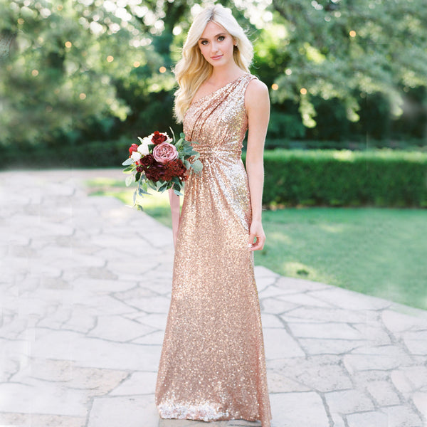 a5a3b6aeff3 Sparkly One-Shoulder Sequin Floor-Length Sheath Backless Bridesmaid Dress