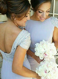 Cap Sleeve Sheath Beaded Backless Jersey Long Wedding Dresses, FC1753