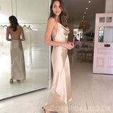 Designed Sheath Halter Silk Elastic Satin Backless Bridesmaid Dress, FC2247
