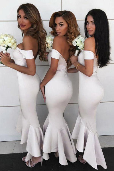 Charming Off Shoulder Mermaid Backless High-low Bridesmaid Dress, FC2577