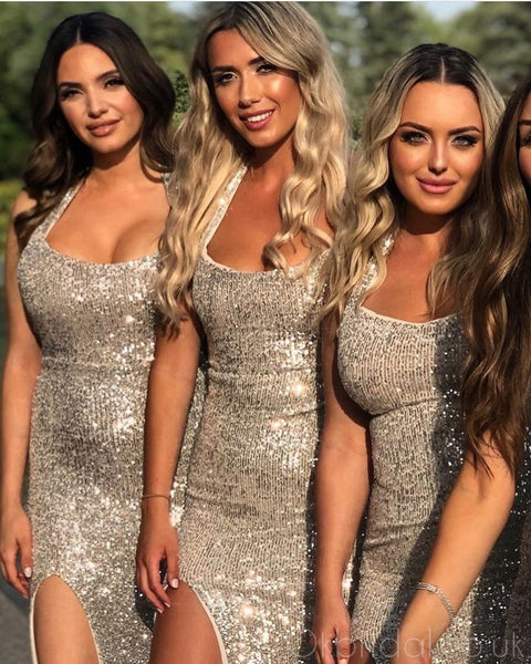Sparkly Sequin Mermaid Sexy Backless Slit Halter Bridesmaid Dress, FC4006